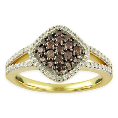 10K Yellow Gold .67 cttw White and Hazel™ Diamond Size 7 Ladies' Ring