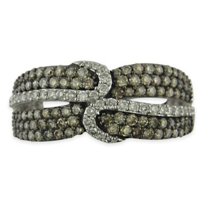 10K White Gold 1.0 cttw Hazel Brown and White Diamond Size 5.5 Ladies' Crossover Ring