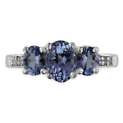 10K White Gold .03 cttw Diamond and Triple Oval Tanzanite Size 8.5 Ladies' Ring