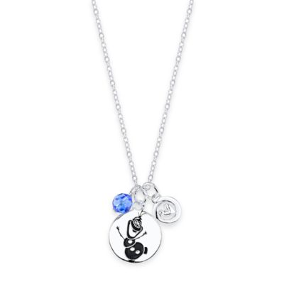 """Disney® """"Frozen"""" Olaf Sterling Silver, Heart and Blue Crystal Disk Trio Pendant Necklace"""