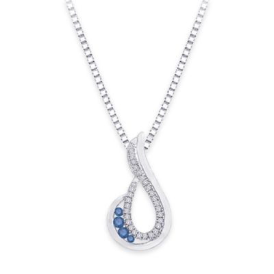 10k White Gold .20 cttw White and Blue Diamond 18-Inch Chain Open Teardrop Pendant Necklace