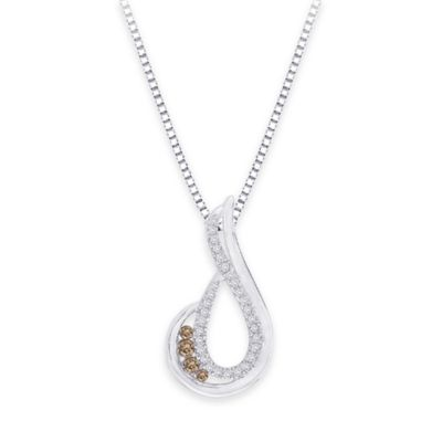 10k White Gold .20 cttw White and Brown Diamond 18-Inch Chain Open Teardrop Pendant Necklace