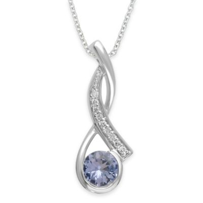 10K White Gold .04 cttw Diamond and Tanzanite 18-Inch Chain Elegant Arch Pendant Necklace