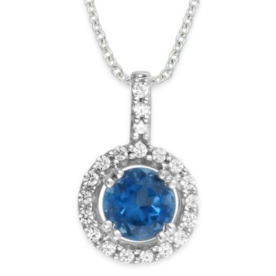 10K White Gold .10 cttw Diamond and 5mm Round Tanzanite 18-Inch Chain Halo Pendant