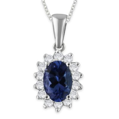 10K White Gold .27 cttw Diamond and Oval Tanzanite 18-Inch Chain Pendant Necklace