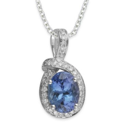 Sterling Silver .30 cttw Diamond and Oval Tanzanite 18-Inch Chain Halo Pendant Necklace