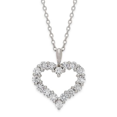 Sterling Silver Created White Sapphire 18-Inch Chain Prong-Set Open Heart Pendant Necklace