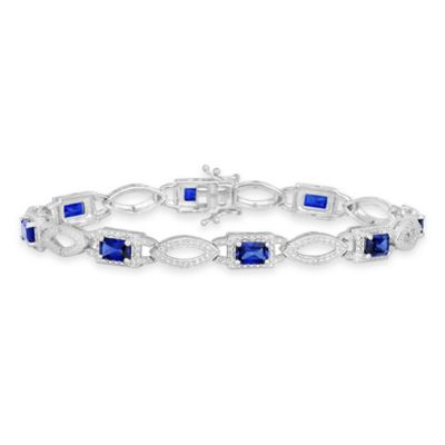 Sterling Silver .04 cttw Diamond and Created Blue Sapphire 7-Inch Tennis Bracelet