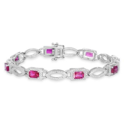 Sterling Silver .04 cttw Diamond and Lab-Created Ruby 7-Inch Bracelet