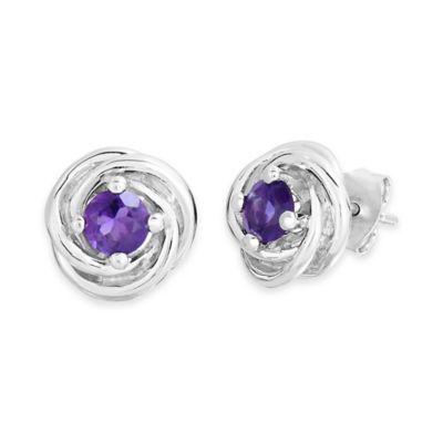 Sterling Silver 5mm Amethyst Knot Post Earrings