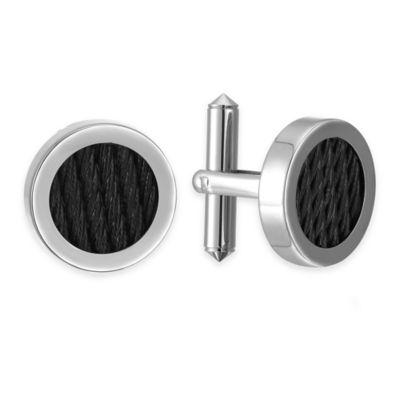 Titanium and Black Cable Round Cufflinks