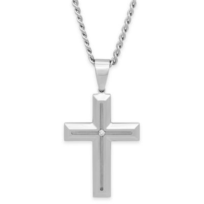 Stainless Steel .03 cttw Diamond 24-Inch Chain Cross Pendant Necklace