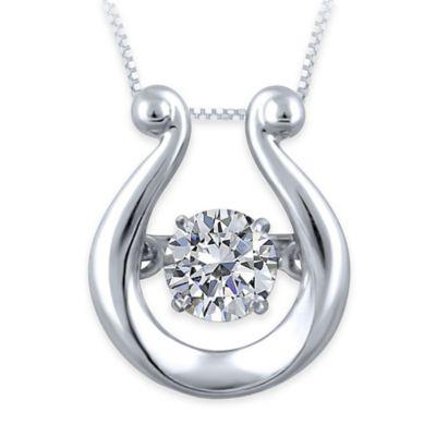 10K White Gold .23 cttw Diamond 18-Inch Chain Ornate Arch Pendant Necklace