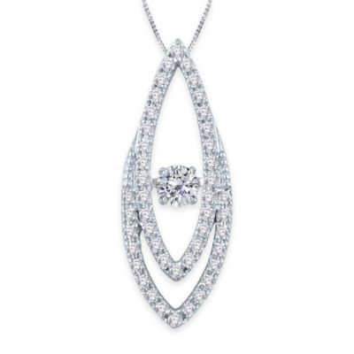 10K White Gold .37 cttw Diamond 18-Inch Chain Thin Diamond Shape Pendant Necklace