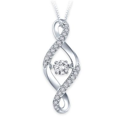 Sterling Silver .14 cttw Diamond 18-Inch Open Twist Pendant Necklace with Diamond Center