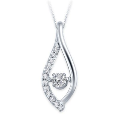 10K White Gold .23 cttw Diamond 18-Inch Chain Twisted Open Teardrop Pendant Necklace