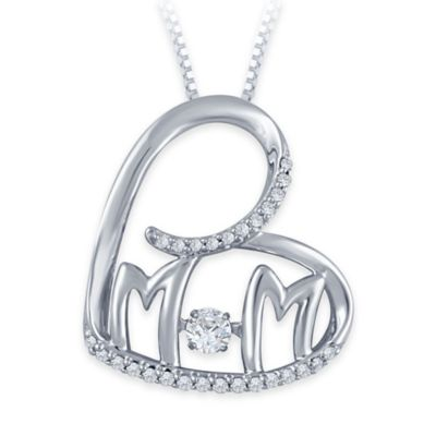 "Sterling Silver .18 cttw Diamond 18-Inch Chain ""Mom"" Heart Pendant Necklace"