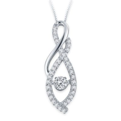 10K White Gold .23 cttw Diamond 18-Inch Chain Double Arches Pendant Necklace