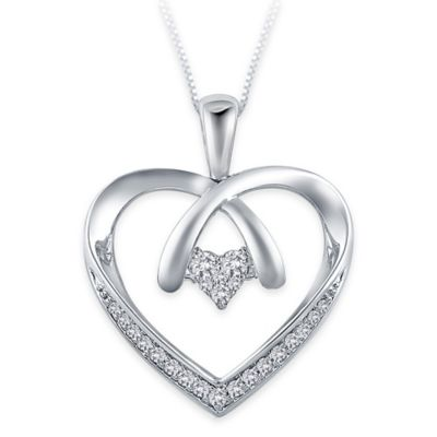 Sterling Silver .14 cttw Diamond 18-Inch Chain Crossover Heart Pendant Necklace