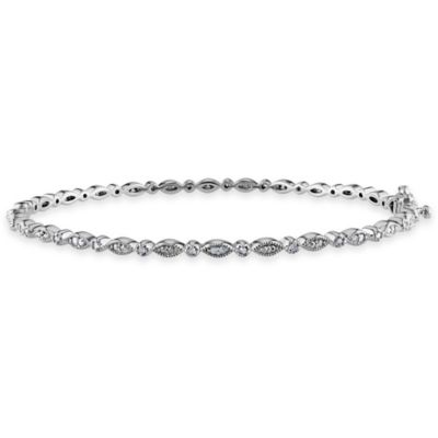 Sterling Silver .25 Diamond 7.25-Inch Oval and Round Settings Bangle Bracelet
