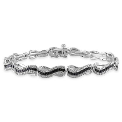 Sterling Silver .5 cttw Black and White Diamond 7.25-Inch Wavy Links Bracelet