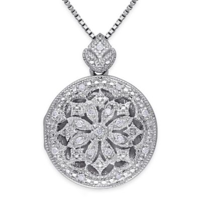 Sterling Silver .10 cttw Diamond 18-Inch Chain Laser-Cut Circle Medallion Pendant Necklace