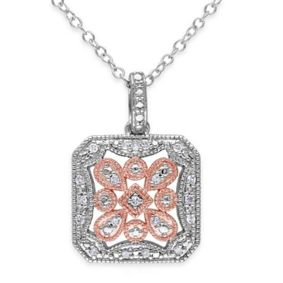 Two-Tone Sterling Silver .10 cttw Diamond 18-Inch Chain Fancy Square Pendant Necklace