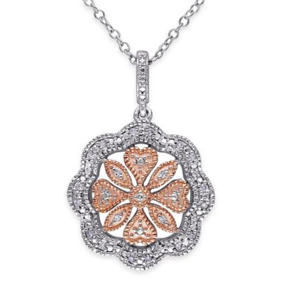 Rose Gold-Plated and Sterling Silver .10 cttw Diamond 18-Inch Scalloped Flower Pendant Necklace