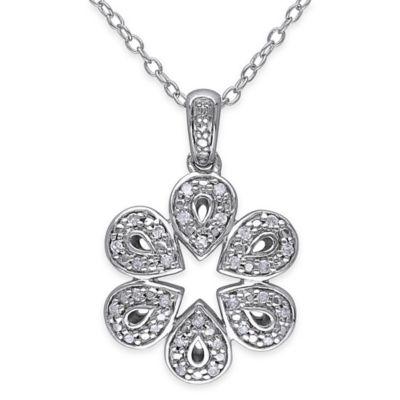 Sterling Silver .125 cttw Diamond 18-Inch Chain Teardrop Flower Pendant Necklace