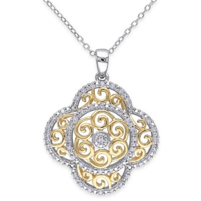 Rose Gold-Plated and Sterling Silver .25 cttw Diamond 18-Inch Chain Two-Tone Clover Pendant Necklace