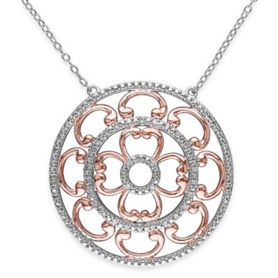 Rose Gold-Plated and Sterling Silver .16 cttw Diamond 18-Inch Chain Circle Arch Pendant Necklace