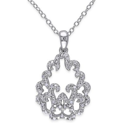 Sterling Silver .20 cttw Diamond 18-Inch Chain Elegant Arches Pendant Necklace