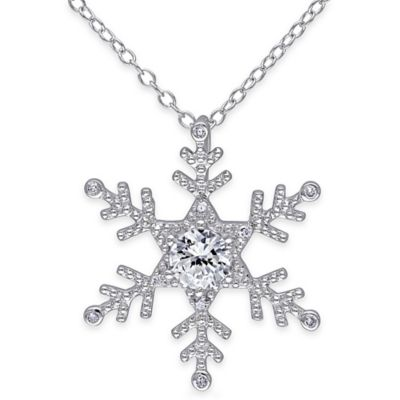 Sterling Silver .05 Diamond and Created Sapphire 18-Inch Chain Snowflake Pendant Necklace