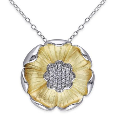 Two-Tone Sterling Silver .10 cttw Diamond 18-Inch Chain Flower Pendant Necklace