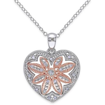 Pink Gold-Plated and Sterling Silver .10 cttw Diamond 18-Inch Chain Victorian Heart Pendant Necklace