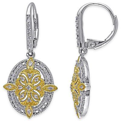 Two-Tone Sterling Silver .25 cttw Diamond Fancy Oval Dangle Leverback Earrings