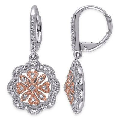 Two-Tone Sterling Silver .25 cttw Diamond Fancy Scalloped Circle Dangle Leverback Earrings