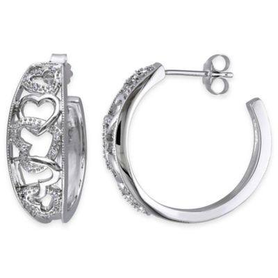 Sterling Silver .10 cttw Diamond Interlocked Hearts Post Hoop Earrings