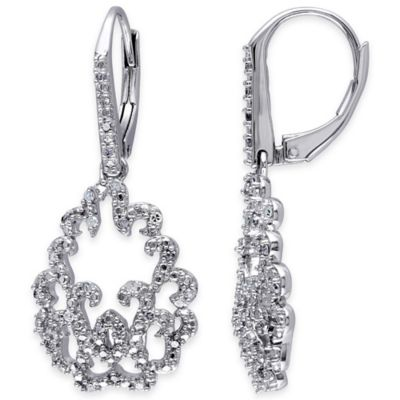Sterling Silver .25 cttw Diamond Exquisite Dangle Leverback Earrings