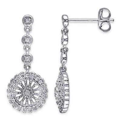 Sterling Silver .25 cttw Diamond Openwork Circle Drop Post Earrings