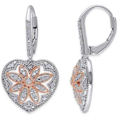 Two-Tone Sterling Silver .25 cttw Diamond Fancy Heart Dangle Leverback Earrings