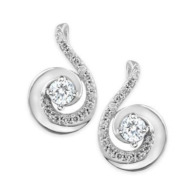 14K White Gold .33 cttw Diamond Swirl Earrings