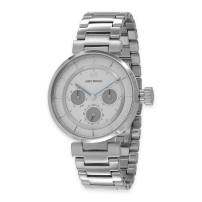 Issey Miyake Unisex 39mm W-Mini Watch in Stainless Steel with White Dial