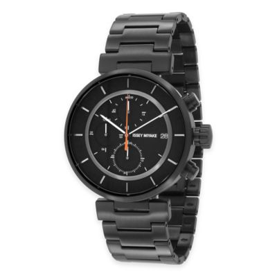 Issey Miyake Men's 43mm W Chronograph Watch with Black Dial in Black Ion-Plated Stainless Steel