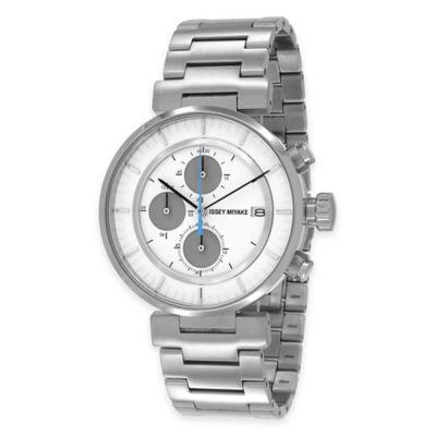 Issey Miyake Men's 43mm W Chronograph Watch with White Dial in Stainless Steel