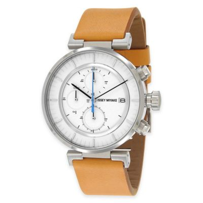Issey Miyake Men's 43mm W Chronograph Watch in Stainless Steel with Tan Leather Strap
