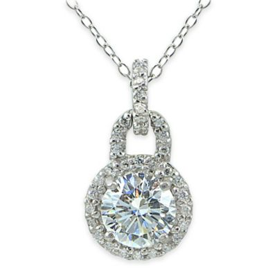 Cherie Sterling Silver Cubic Zirconia 18-Inch Chain Circle Drop Pendant Necklace