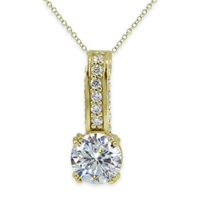 Cherie 18K Gold Plated Faceted Cubic Zirconia 18-Inch Chain Linear Drop Pendant