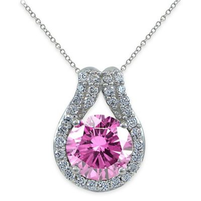 Cherie Sterling Silver Faceted Pink Cubic Zirconia 18-Inch Chain Teardrop Pendant Necklace