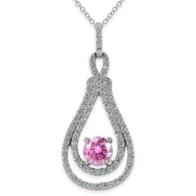 Cherie Sterling Silver Faceted Pink and White Cubic Zirconia Double Drop Pendant Necklace